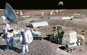 Representación de una posible colonia lunar. NASA/SAIC/Pat Rawlings