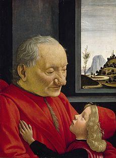 Un abuelo y su nieto, de Domenico Ghirlandaio (el anciano muestra un rinofima en la nariz
