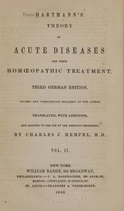 Hartmann's Theory of Acute Diseases and their Treatment