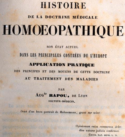 Histoire de la Doctrine Médicale Homéopathique